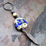 Southwestern Feather Ivory Lampwork Key Chain