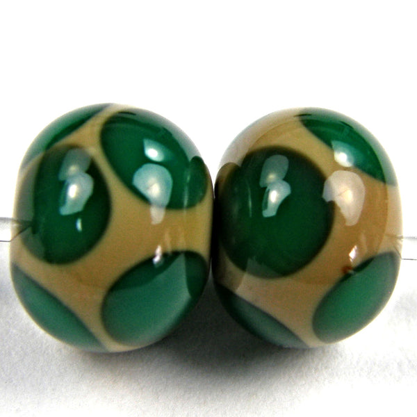 Handmade Lampwork Glass Dot Beads, Sage Green Teal Shiny