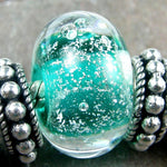Handmade Large Hole Lampwork Beads, Artisan Glass Teal Green Dichroic