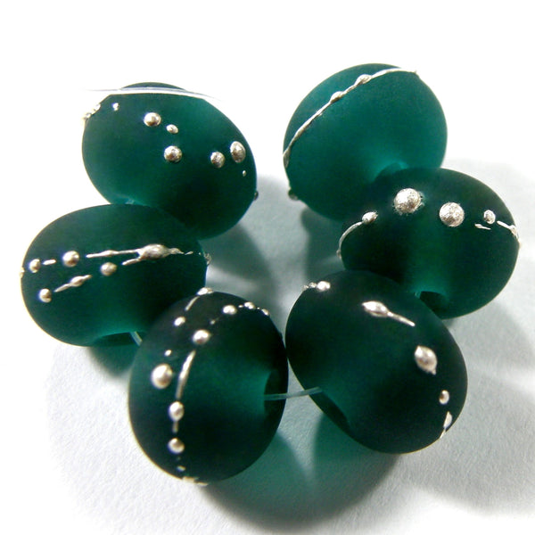 Handmade Lampwork Glass Beads, Dark Teal Green Silver Etched Matte 027efs