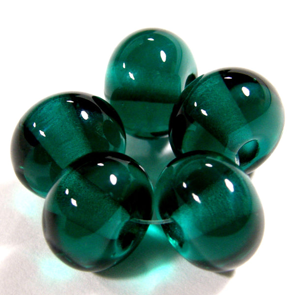 Handmade Lampwork Glass Beads, Dark Teal Green Shiny Glossy 027g