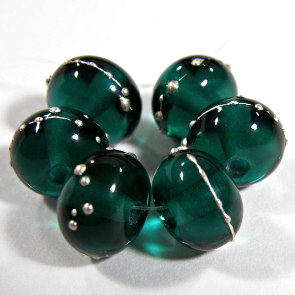Handmade Lampwork Glass Beads, Dark Teal Green Silver Shiny Glossy 027gfs