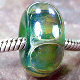 Handmade Large Hole Lampwork Beads, Glass Slider Beads, Teal Green Dots Shiny
