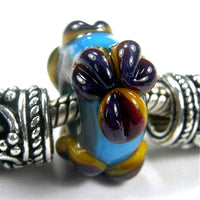Handmade Large Hole Lampwork Beads, Artisan Glass Charm Flowers Rustic Sky Blue