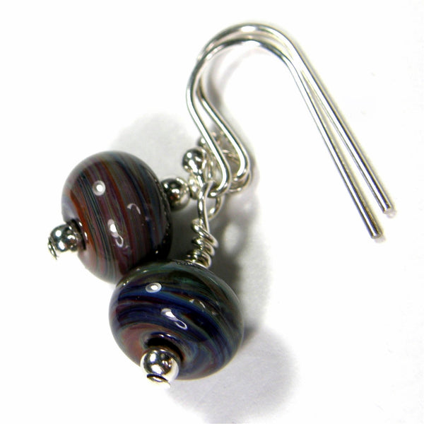 Earthy Terranova Lampwork Dangle Earrings, Sterling Silver, Artisan Handmade Jewelry