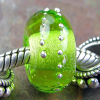 Handmade Large Hole Lampwork Beads, European Glass Charm, Light Grass Green Silver