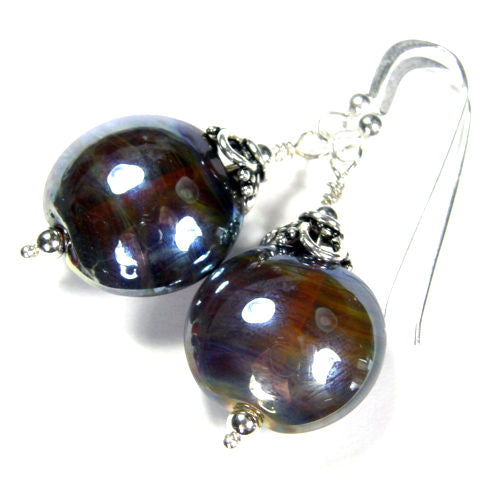 Powerful Triton Lampwork Dangle Earrings, Sterling Silver, Artisan Handmade Jewelry