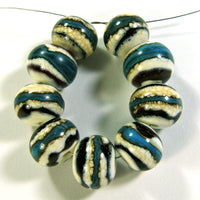 Handmade Lampwork Glass Beads, Southwest Ivory Turquoise Dark Brown Shiny