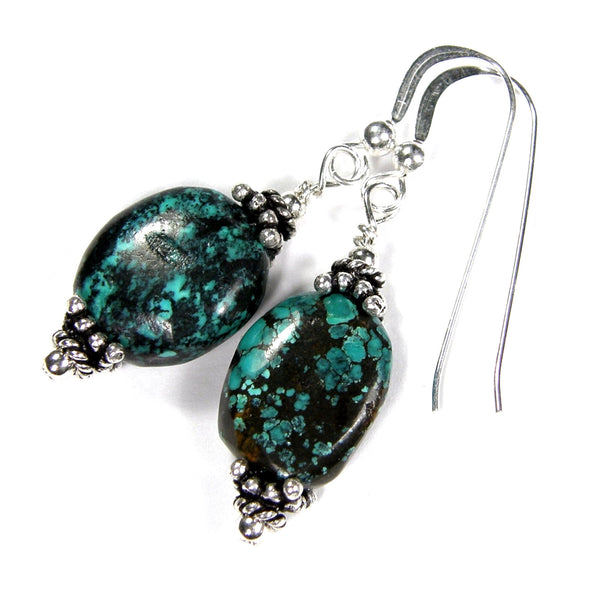 Genuine Turquoise Dangle Earrings, Sterling Silver, Artisan Handmade Jewelry