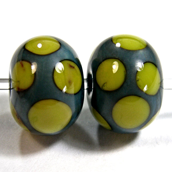 Handmade Lampwork Glass Dot Beads, Turquoise Pistachio Green Shiny