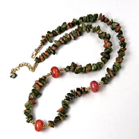 Unakite Gemstone and Coral Lampwork Necklace Set, Gold, Handmade Jewelry