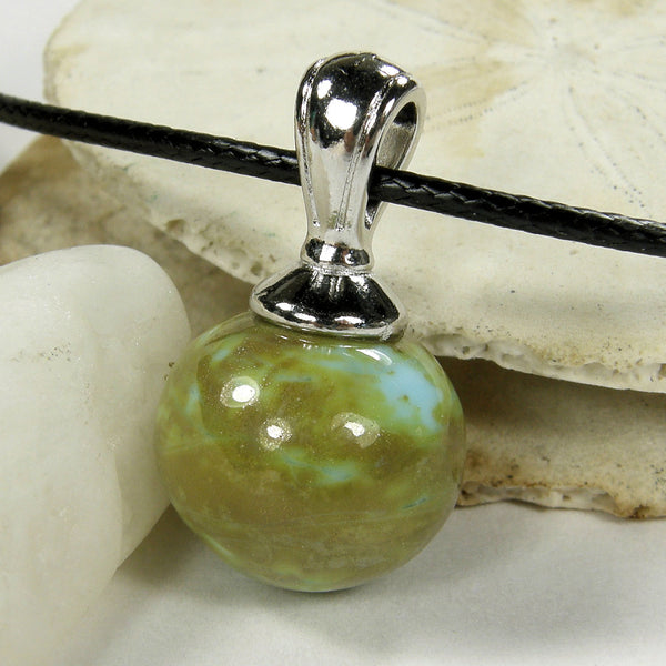 Rustic Sand Blue Lampwork Pendant Necklace Galaxy Globe Sphere 20023