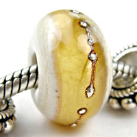 Handmade Large Hole Lampwork Beads, Ivory Pale Amber Band Silver Shiny
