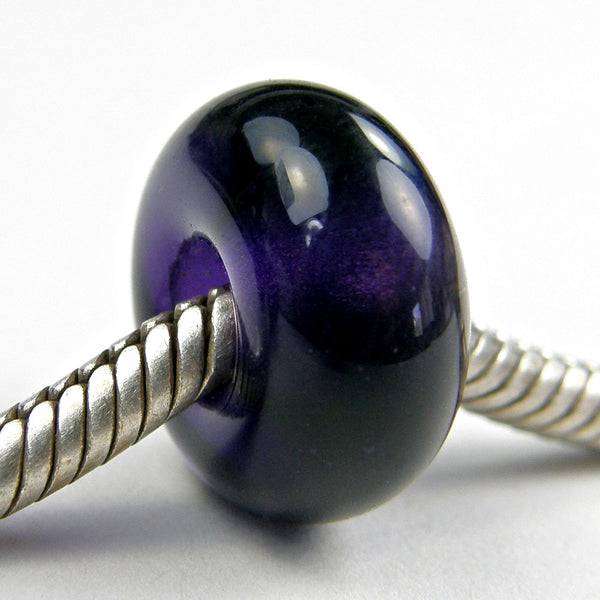 Handmade Large Hole Lampwork Beads, Euro Style Charm Transparent Violet Purple