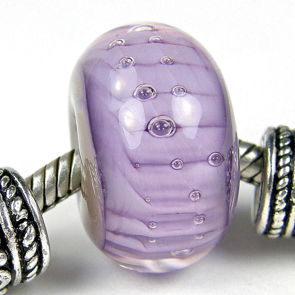 Handmade Large Hole Lampwork Beads, Euro Style Charm Violet Ripples