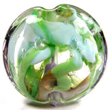 Handmade Lampwork Glass Focal Bead, XL Lentil Flowers Blue Green Clear Shiny