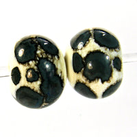 Handmade Lampwork Glass Bead Pairs, Ivory Blue Dots Shiny