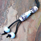 Sky Blue Swirl Lampwork Purse Charm, Backpack Charm, Tote Bag Charm, Saddle Charm