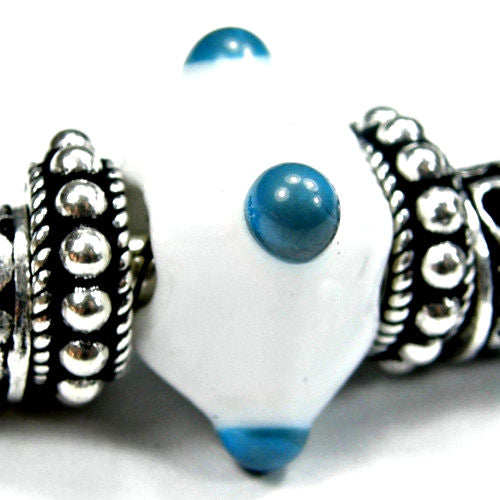 Handmade Large Hole Lampwork Beads, Glass Diamond Beads, White Sky Blue