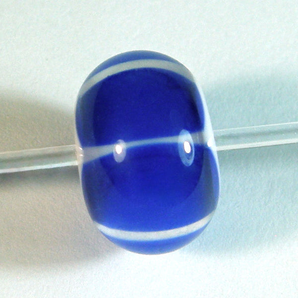 Handmade Lampwork Glass Striped Beads, Cobalt Blue White Encased Shiny