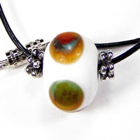 Boho Lampwork Necklace Leather White Brown Green