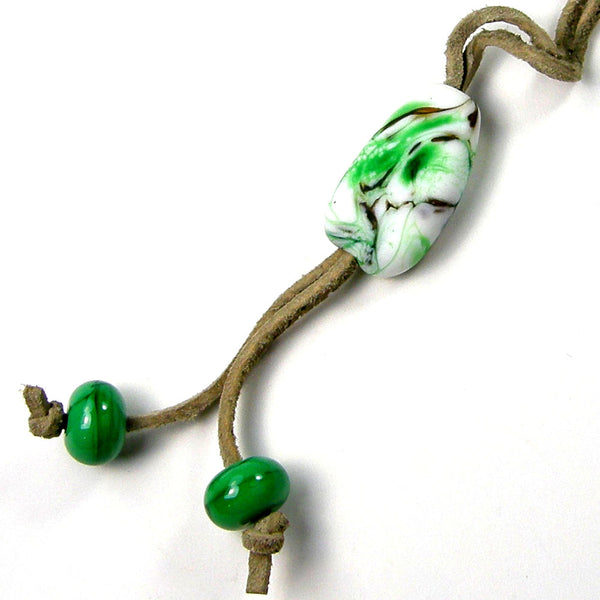 Green White Lampwork Purse Charm, Backpack Charm, Tote Bag Charm, Saddle Charm