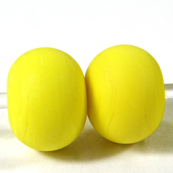 Handmade Lampwork Glass Beads, Bright Acid Yellow Etched Matte 416e