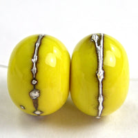 Handmade Lampwork Glass Beads, Bright Acid Yellow Silver Shiny 416gfs