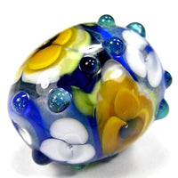 Handmade Lampwork Glass Focal Bead, Blue Barrel White Yellow Flowers Shiny
