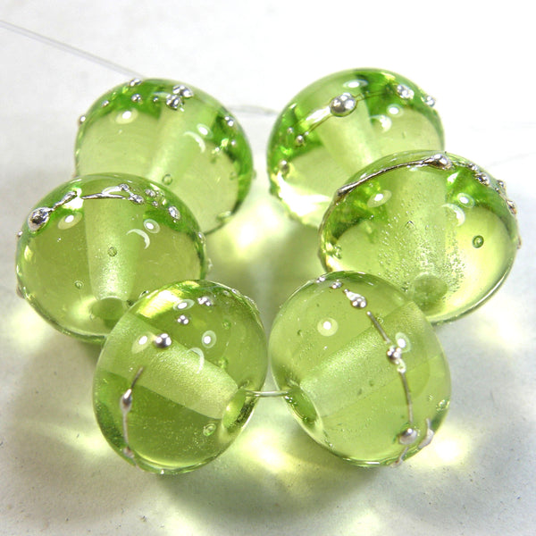 Handmade Lampwork Glass Beads, Yellow Green Silver Shiny 071gfs