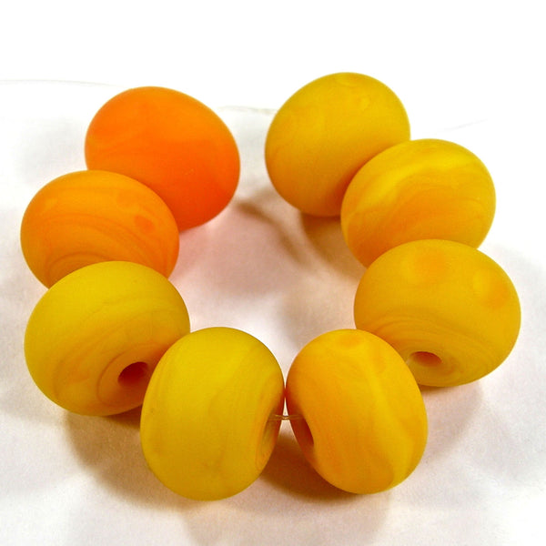 Handmade Lampwork Glass Beads, Medium Lemon Yellow Etched Matte 408e