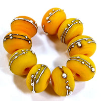 Handmade Lampwork Glass Beads, Medium Lemon Yellow Silver Etched 408efs