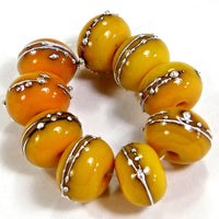 Handmade Lampwork Glass Beads, Medium Lemon Yellow Silver Shiny 408gfs
