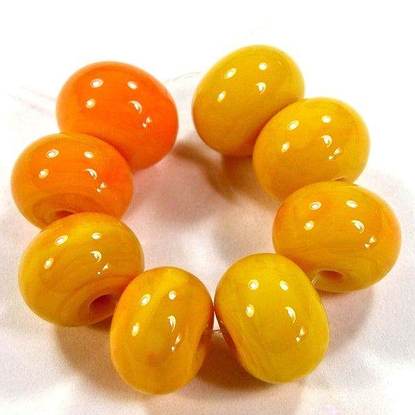 Handmade Lampwork Glass Beads, Medium Lemon Yellow Shiny Glossy 408g