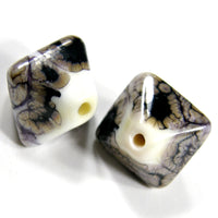 Handmade Lampwork Glass Diamond Beads, Opal Yellow Black Webs