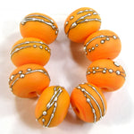 Handmade Lampwork Glass Beads, Pastel Yellow Kumquat Silver Etched Matte 418efs