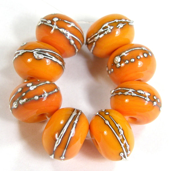 Handmade Lampwork Glass Beads, Pastel Yellow Kumquat Silver Shiny 418gfs