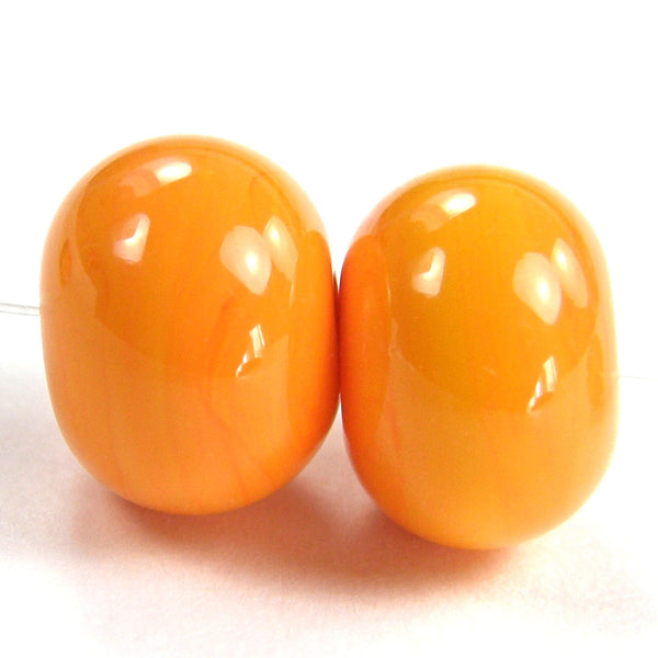 Handmade Lampwork Glass Beads, Pastel Yellow Kumquat Shiny Glossy 418g