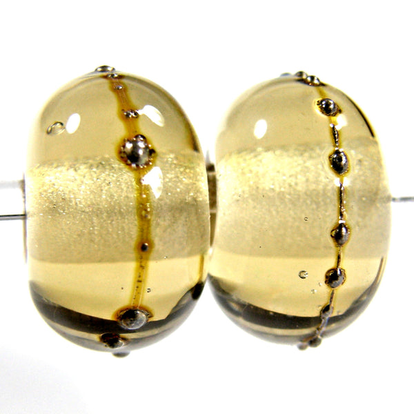 Handmade Lampwork Glass Beads, Straw Yellow Silver Shiny Glossy 049gfs