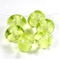 Handmade Lampwork Glass Beads, Uranium Yellow Shiny Glossy 070g