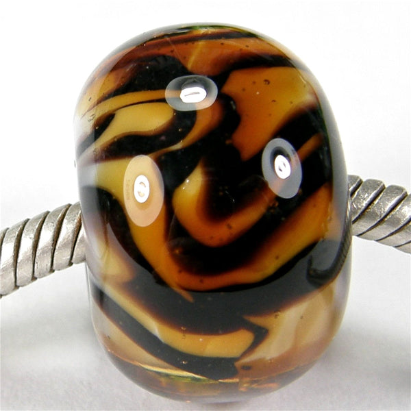 Handmade Large Hole Lampwork Beads, Amber Brown Tiger Stripes Shiny
