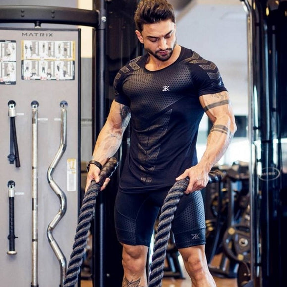 Mens' Fitness Bodybuilding Fashion Cotton Tee Tops
