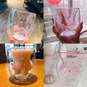 Cute Cat Claw Glass Mugs