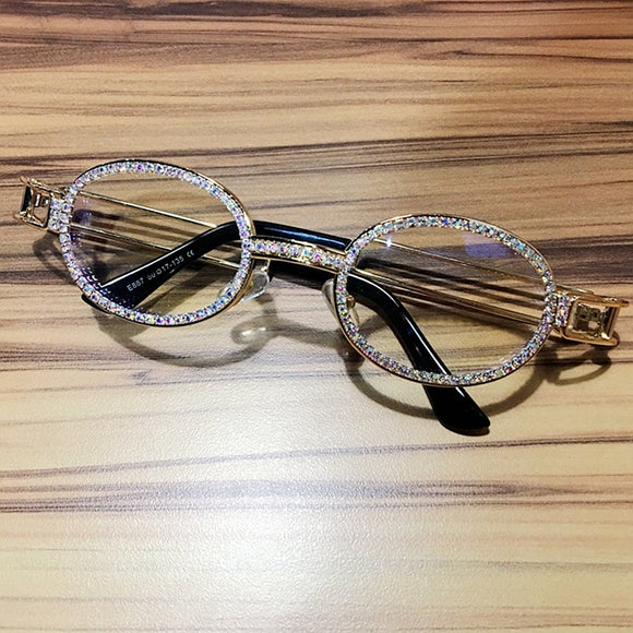 Fashion Clear Lens Rhinestone Sunglasses