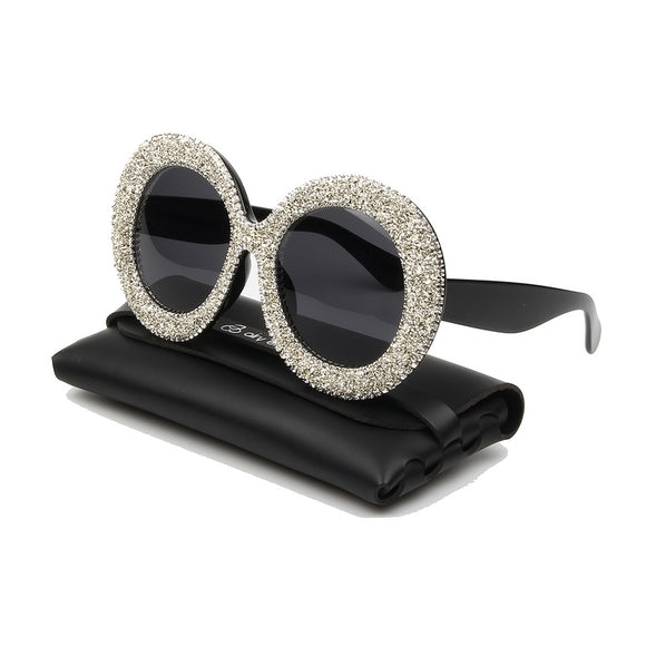 Rhinestones Round Frame Gradient Mirror Shades for Women