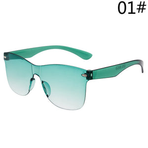 Candy Color One Piece Rivet Transparent Cat Eye Ladies' Sunglasses