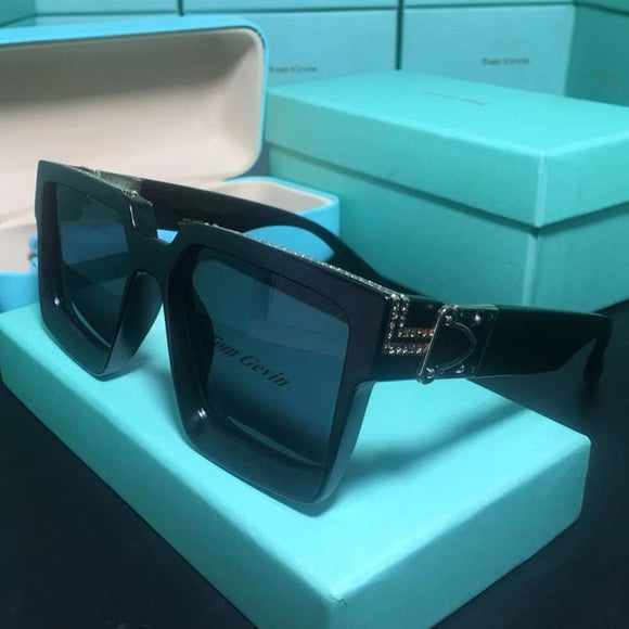 Unisex Shiny Retro Sunglasses With Glasses Case