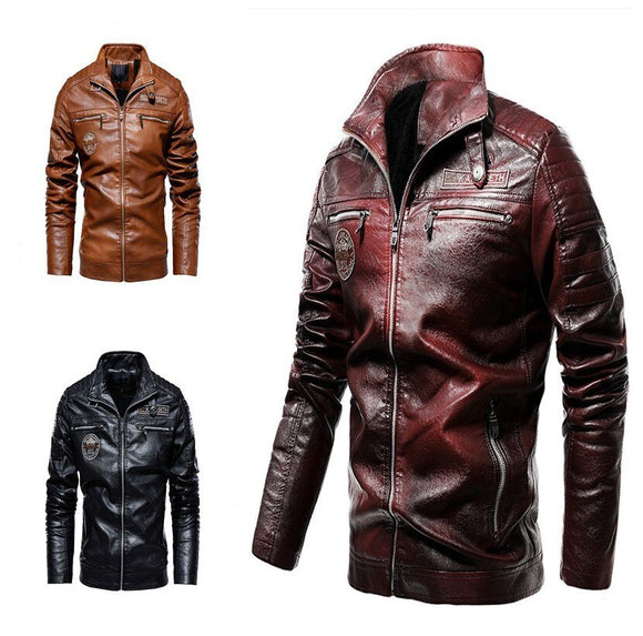 Vipupon Men's Velvet Leather Jacket