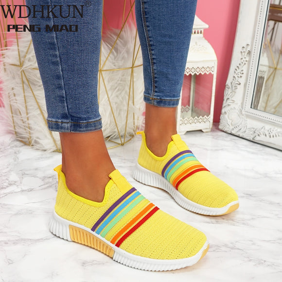 2020 New Fashion Women's Rainbow Color Knitted Mesh Leisure Shoes