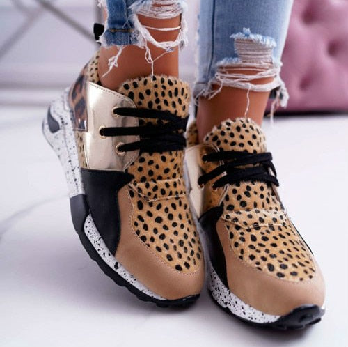 Women Breathable Ladies Leopard Print Platform Sneakers
